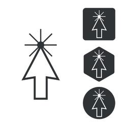 Arrow cursor icon set monochrome vector image