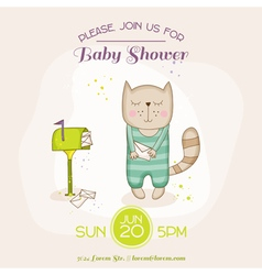 Baby cat with mail - shower or arrival card vector