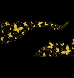 background with decorative golden butterflies vector image