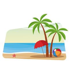beautiful beach cartoon vector image