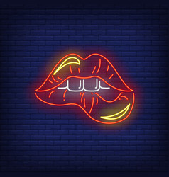 biting red lips neon sign vector image