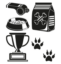 Black and white dog care poster silhouette vector