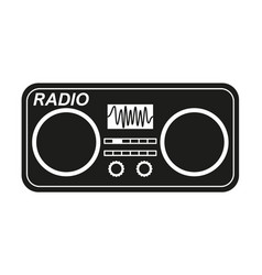 black and white old radio silhouette vector image