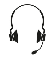 Black and white wireless headset silhouette vector