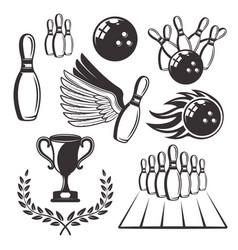 bowling set black retro design elements vector image