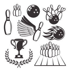 bowling set of black retro design elements vector image