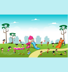 boys playing football in the park vector image