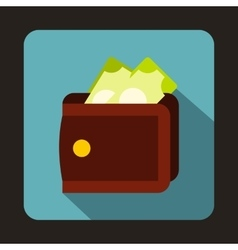 Brown wallet with cash icon flat style vector image