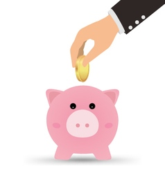 Business Hand Picking Up Gold Coin Into Piggy Bank vector image