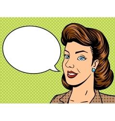 Businesswoman talks pop art retro vector image