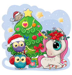 cartoon unicorn and two owls is near the vector image