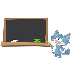 Cat with a pointer and blackboard vector