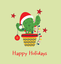 christmas card with funny cactus in santa red hat vector image