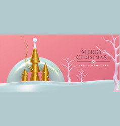 christmas new year abstract modern 3d gold card vector image