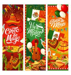 cinco de mayo party mexican holiday fiesta flags vector image