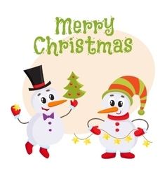 Cute and funny little snowman holding a garland vector