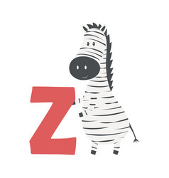 cute animal alphabet with zebra vector image