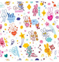 cute bunnies cartoon seamless pattern vector image