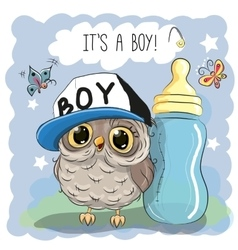 Cute cartoon owl boy vector