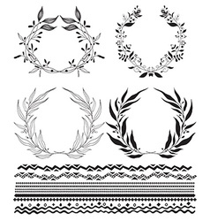 Decorative wreaths and stylized stripes underscore vector image