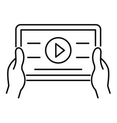 device video play icon outline style vector image