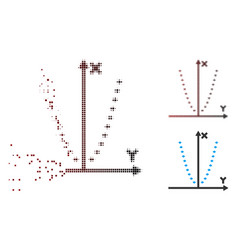 Dispersed pixel halftone dotted parabola plot icon vector