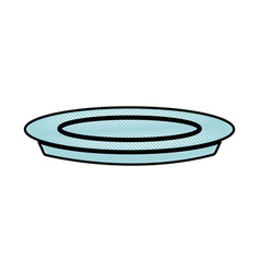 drawing plate dish food cooking image vector image