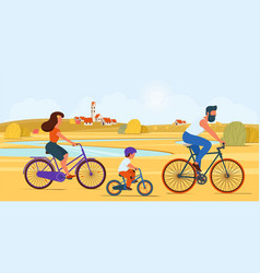 family riding bikes together in countryside vector image