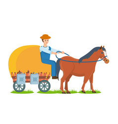 Farmer rides horse on cart engaged farm craft vector