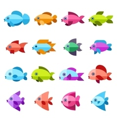 Fish flat icons set vector