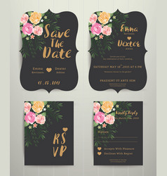 Floral wedding invitation save the date card with vector