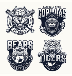Football and baseball teams logos vector