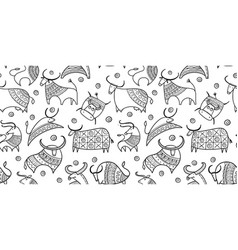 funny bulls collection lunar horoscope sign vector image