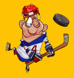 Funny cartoon hockey player with stick and puck vector