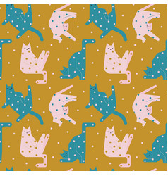 funny cats in weird poses pattern vector image