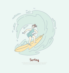 girl on surfboard riding wave female surfer vector image