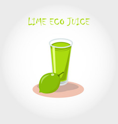 glass of bio fresh lime juice vector image