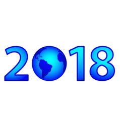 globe 2018 lettering vector image