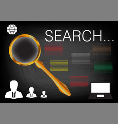 golden magnifier and laptop on a black vector image