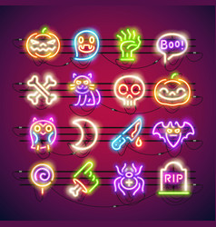 halloween colorful neon icons vector image
