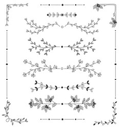 hand drawn floral borders set decorative elements vector image