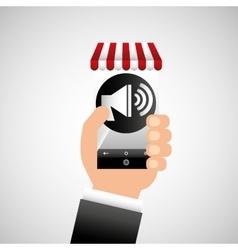 hand holding e-shopping megaphone design vector image