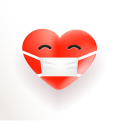 Heart with medical mask 3d vector