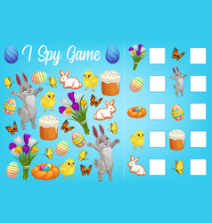 I spy kids game with easter characters worksheet vector