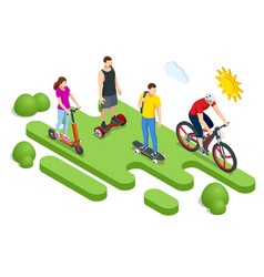 isometric ecological personal transport concept vector image