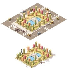 Isometric low poly urban park vector