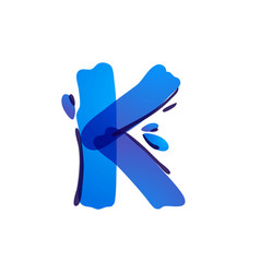 K letter eco logo with blue water drops vector