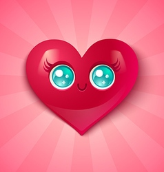 kawaii heart blue eyes vector image
