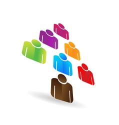 Leader business teamwork tree icon vector image