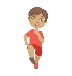 little boy running boy in motion front view a vector image